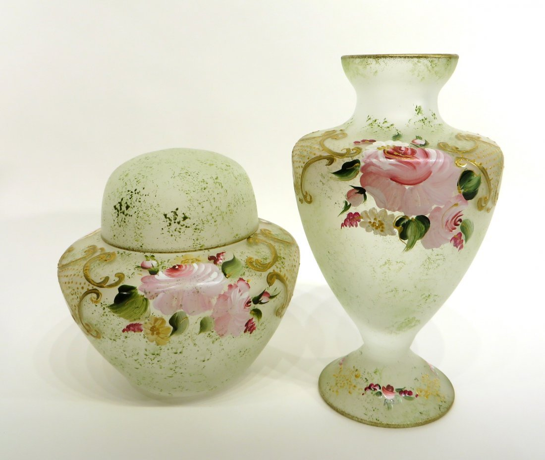 TWO PIECES LAURENT TRADE & DESIGN DECORATED GLASS