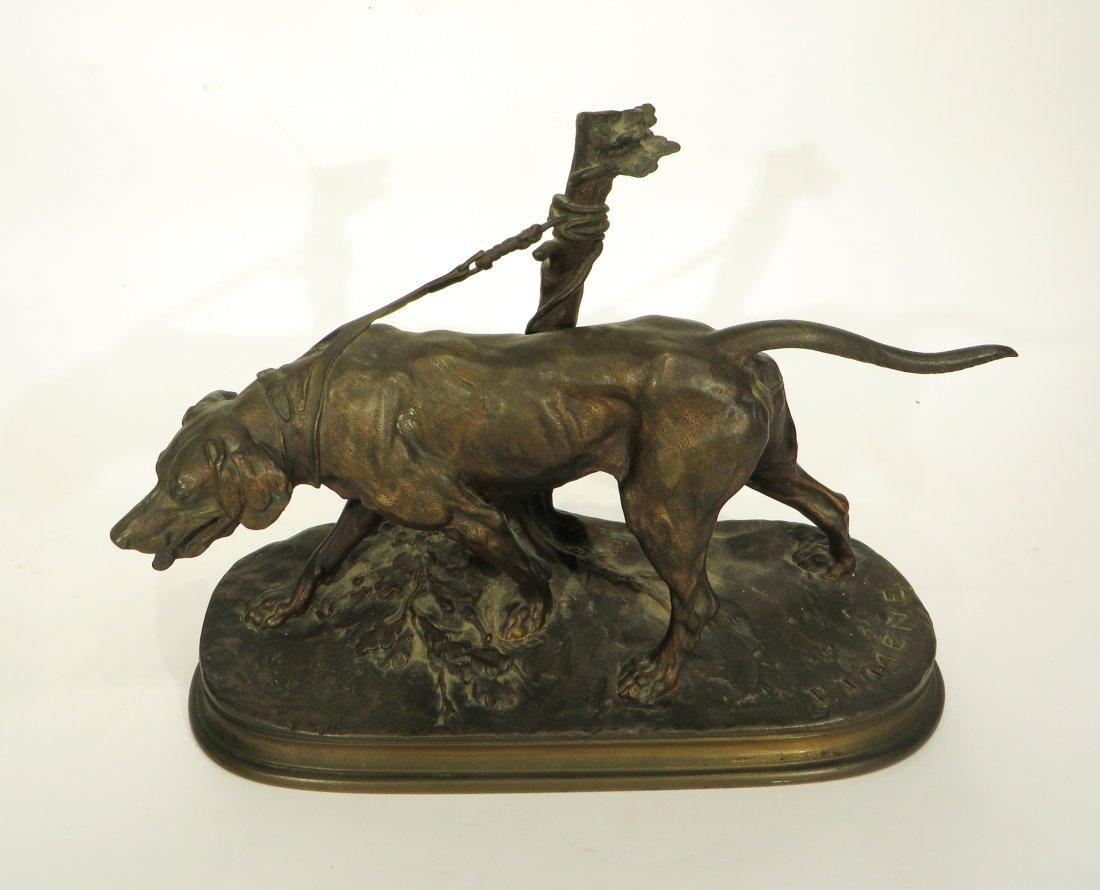 19TH C. BRONZE HUNTING DOG SIGNED P J MENE - 2