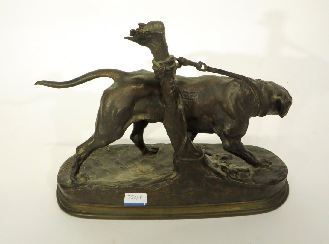 19TH C. BRONZE HUNTING DOG SIGNED P J MENE - 3