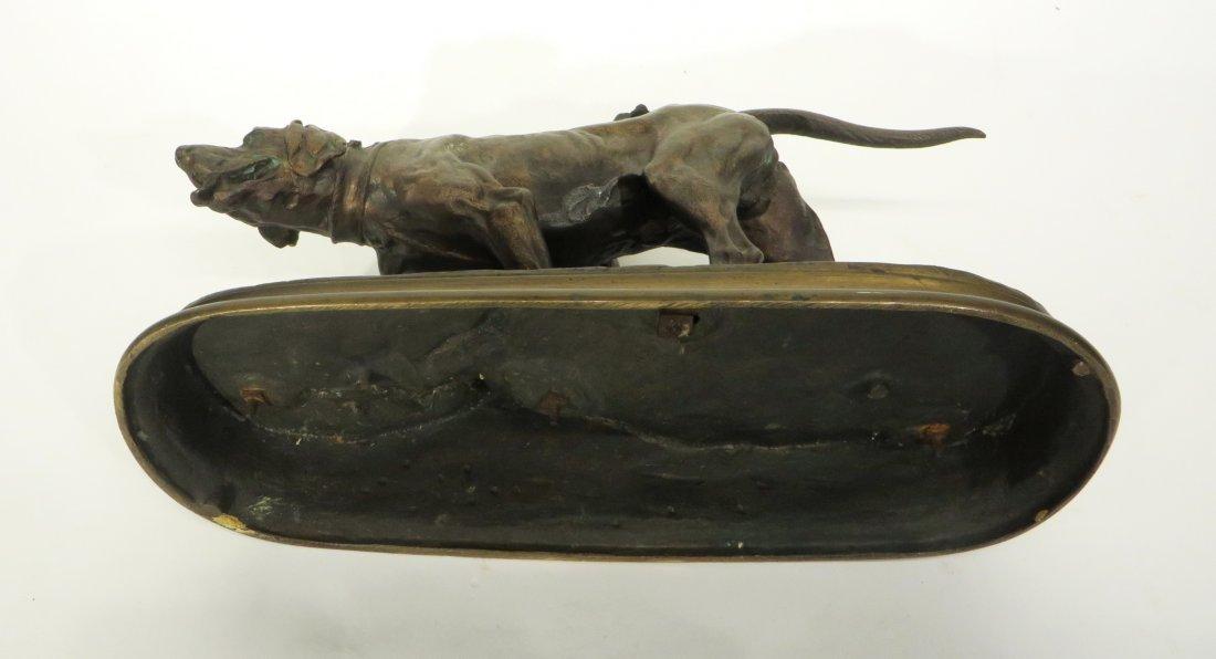 19TH C. BRONZE HUNTING DOG SIGNED P J MENE - 6
