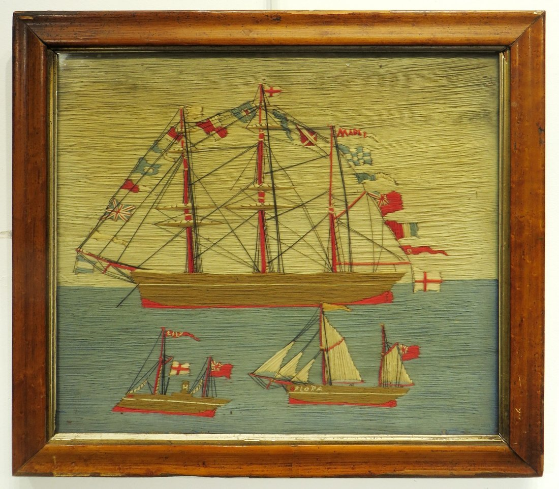 SAILOR'S WOOL WORK IN FRAME