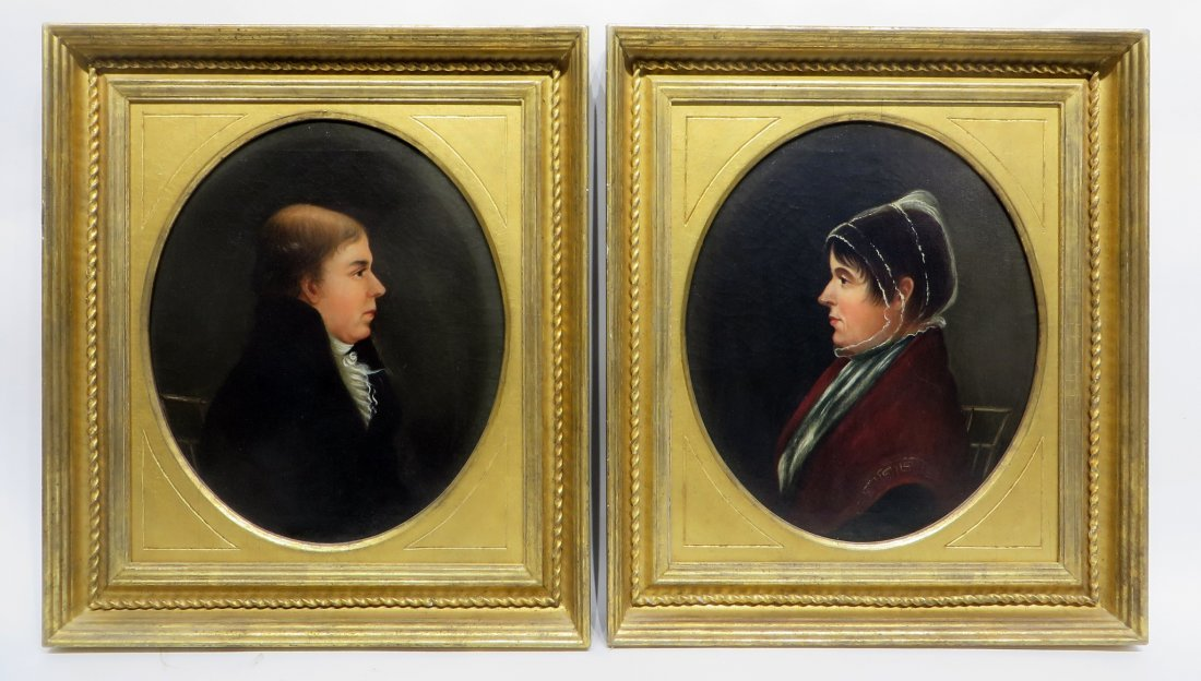 PAIR OF 19TH C PORTRAITS ON CANVAS