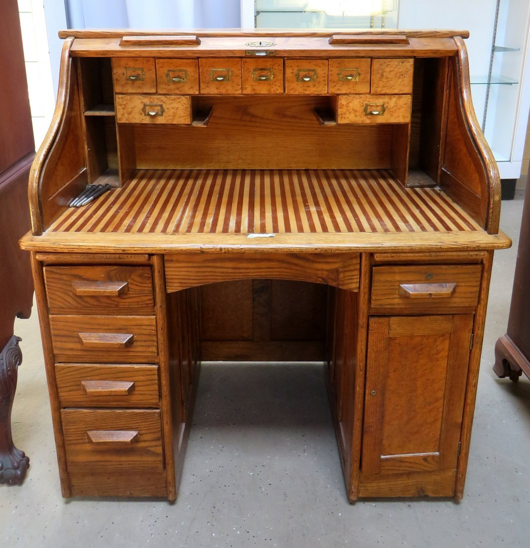 LATE 19TH C. ROLL TOP DESK - 2