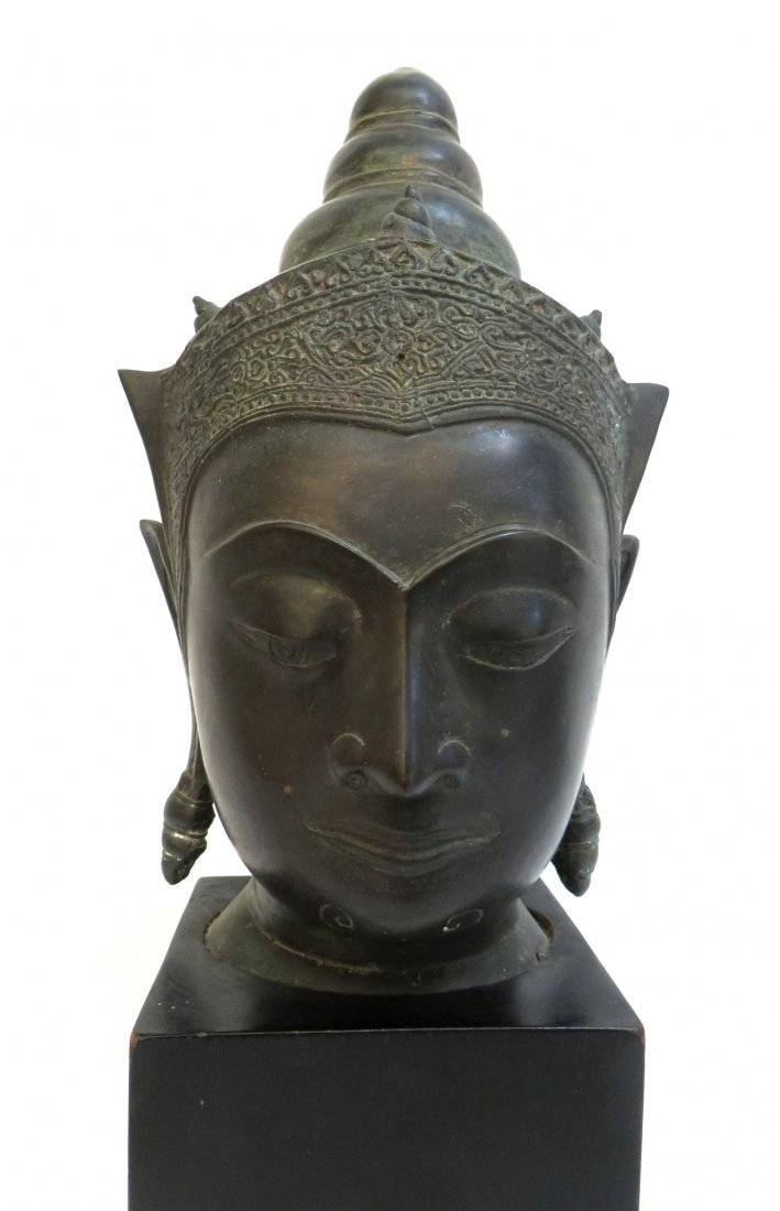 BRONZE THAI BUDDHA HEAD WITH STAND - 2