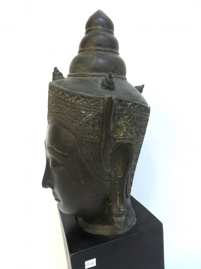 BRONZE THAI BUDDHA HEAD WITH STAND - 4