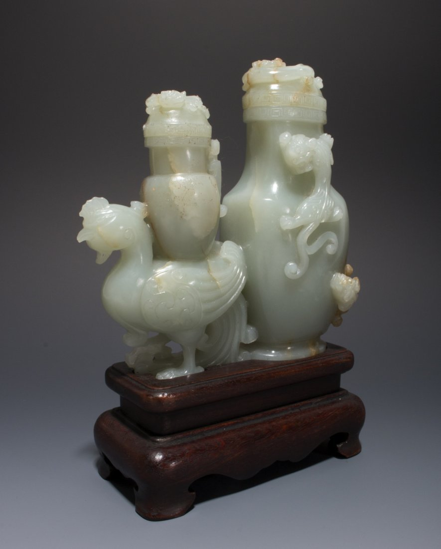 CHINESE WHITE JADE DRAGON PHOENIX DOUBLE URN - 2