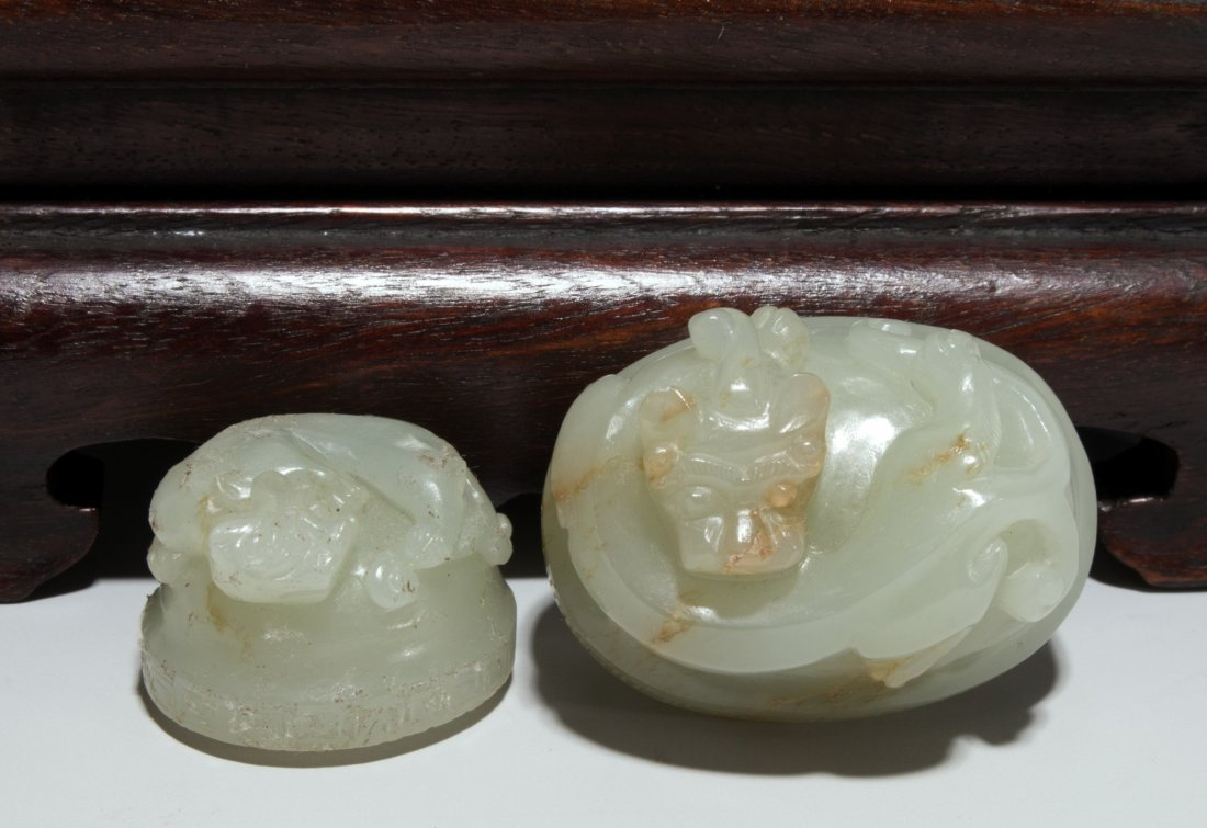 CHINESE WHITE JADE DRAGON PHOENIX DOUBLE URN - 7