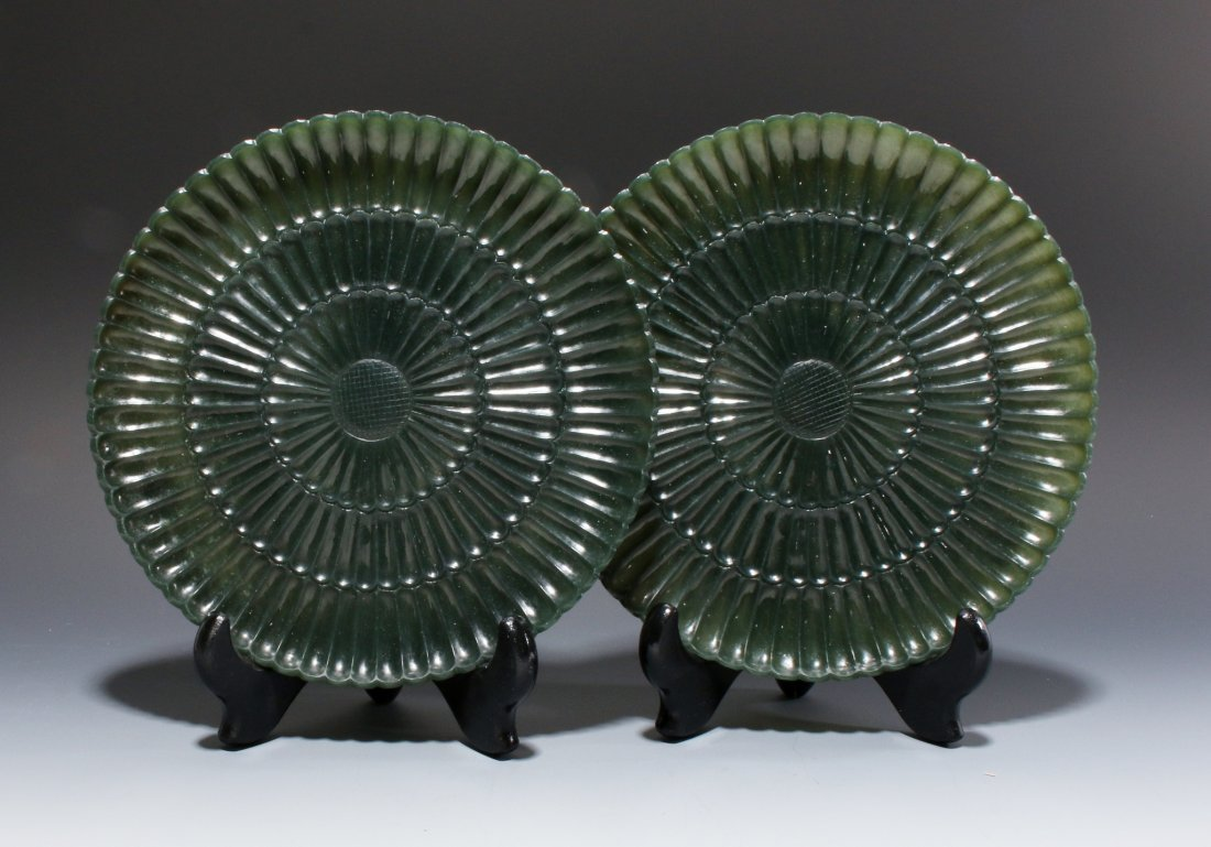 PAIR OF CHINESE CARVED GREEN JADE PLATES