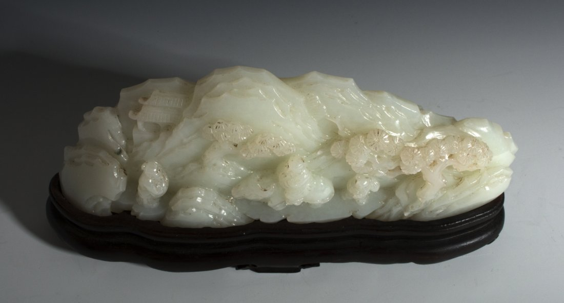 CHINESE WHITE JADE MOUNTAIN CARVING - 3