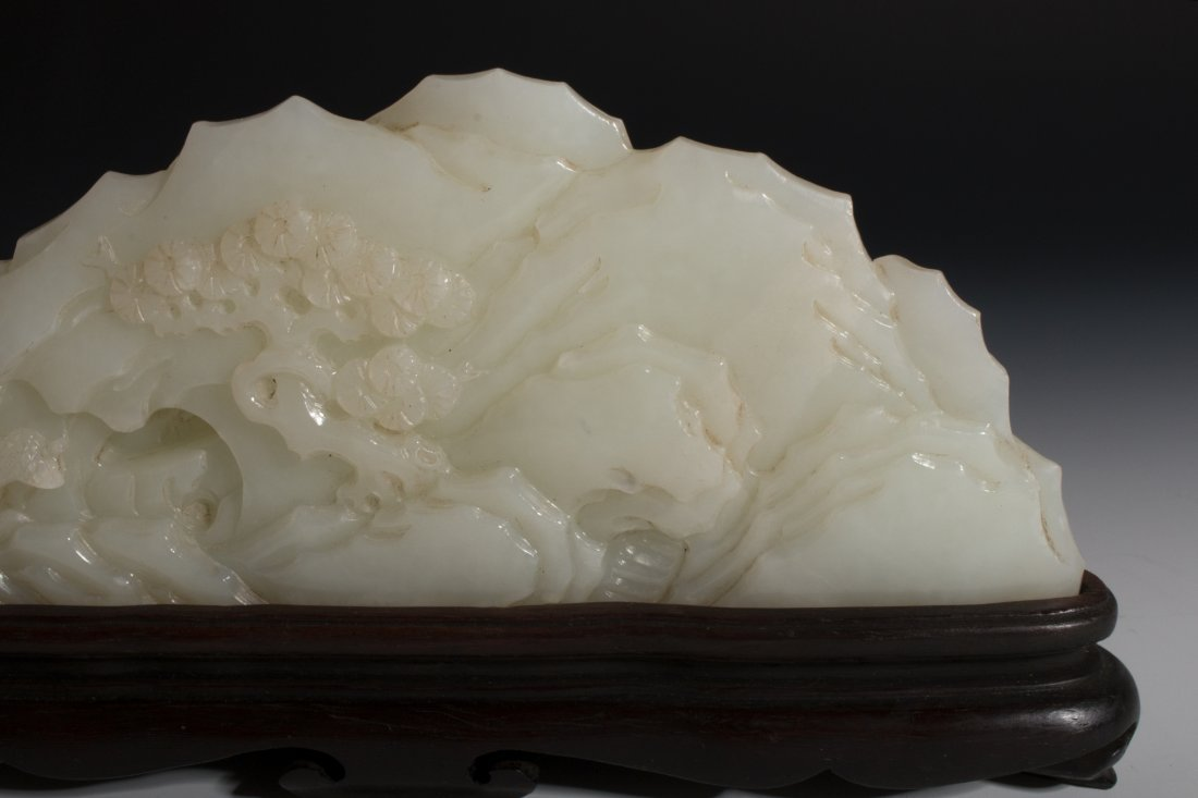 CHINESE WHITE JADE MOUNTAIN CARVING - 5