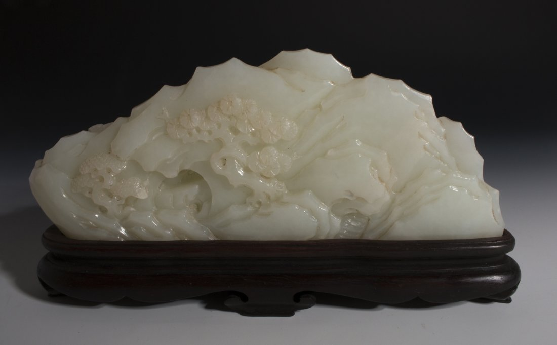 CHINESE WHITE JADE MOUNTAIN CARVING - 6