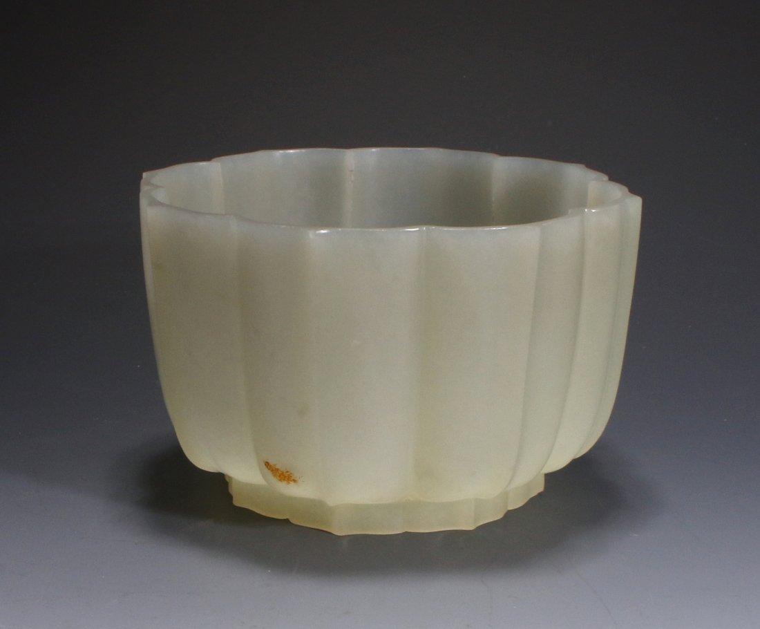 CHINESE WHITE JADE LOTUS BLOSSOM BOWL
