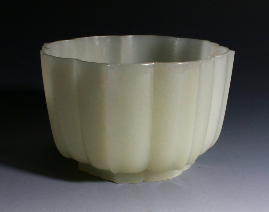 CHINESE WHITE JADE LOTUS BLOSSOM BOWL - 5