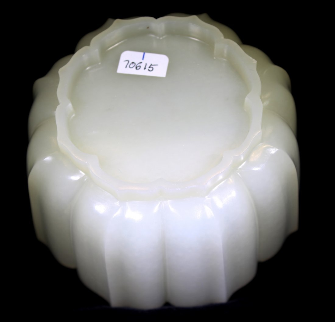 CHINESE WHITE JADE LOTUS BLOSSOM BOWL - 6