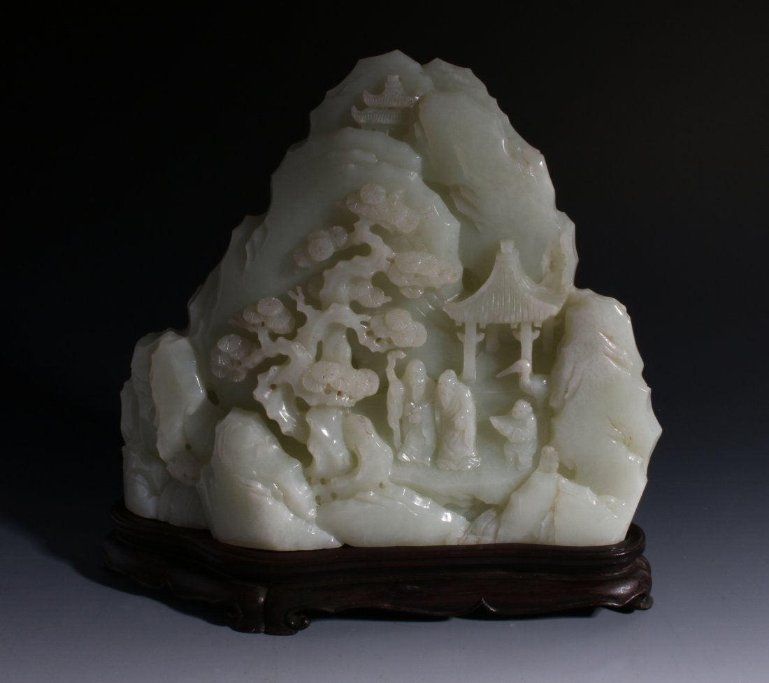CHINESE CARVED WHITE JADE MOUNTAIN SCENE