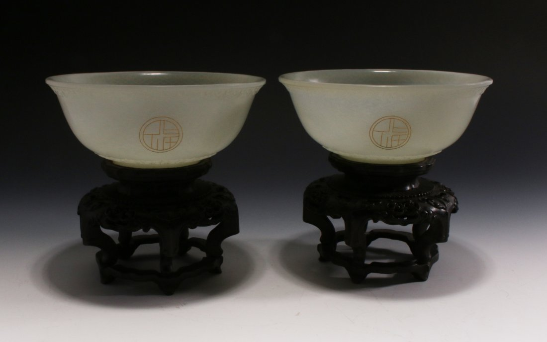 PAIR OF WHITE JADE BOWLS ON STANDS