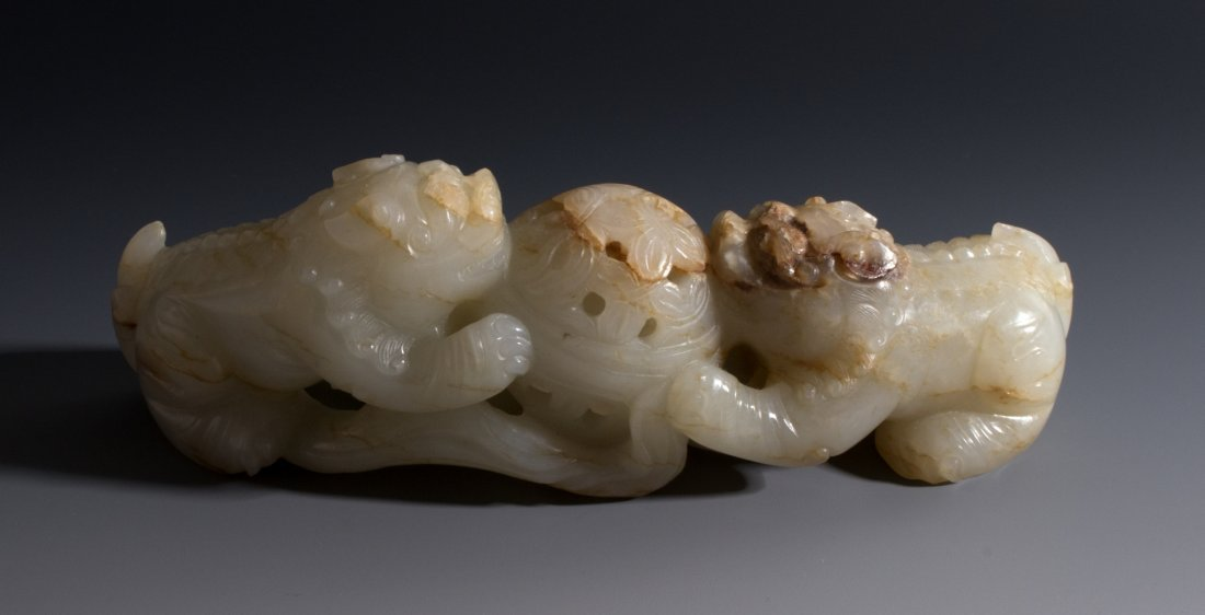 CHINESE CARVED WHITE JADE FOO LIONS - 2
