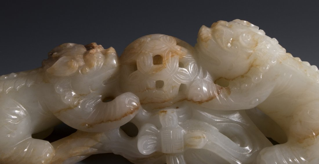 CHINESE CARVED WHITE JADE FOO LIONS - 3