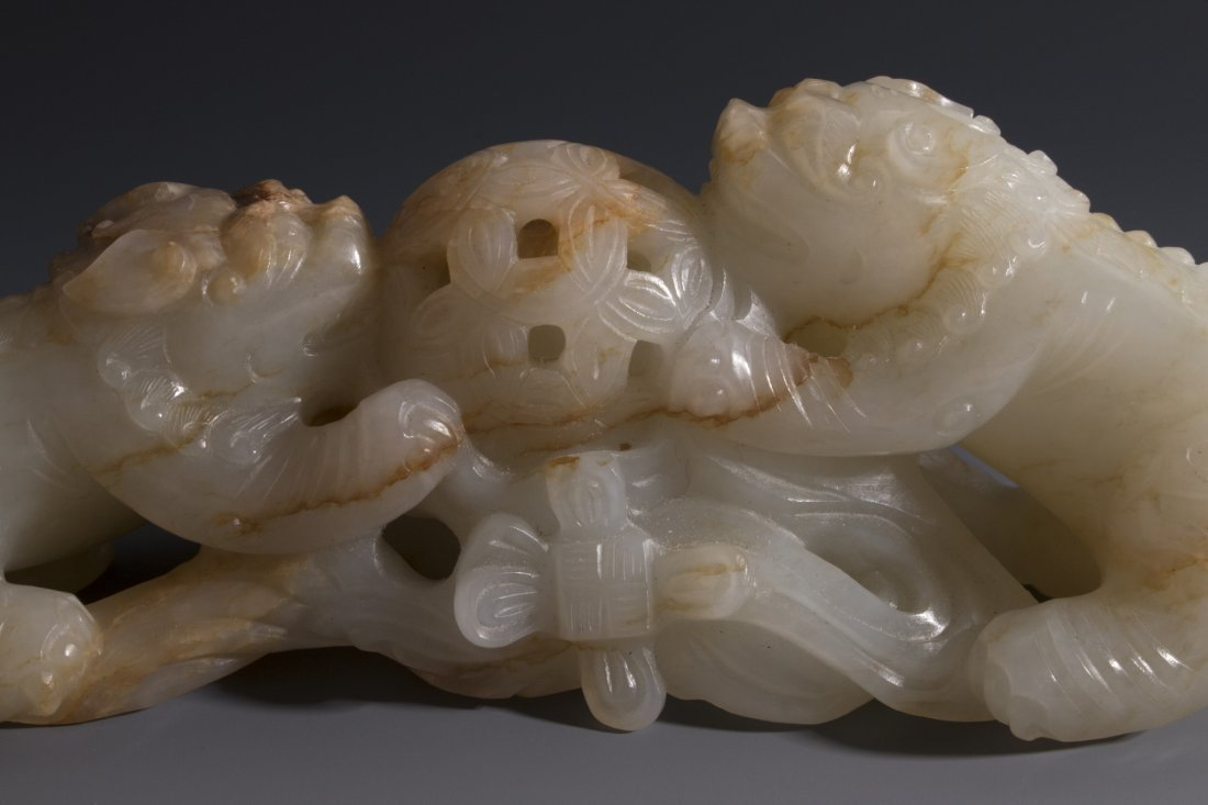 CHINESE CARVED WHITE JADE FOO LIONS - 4