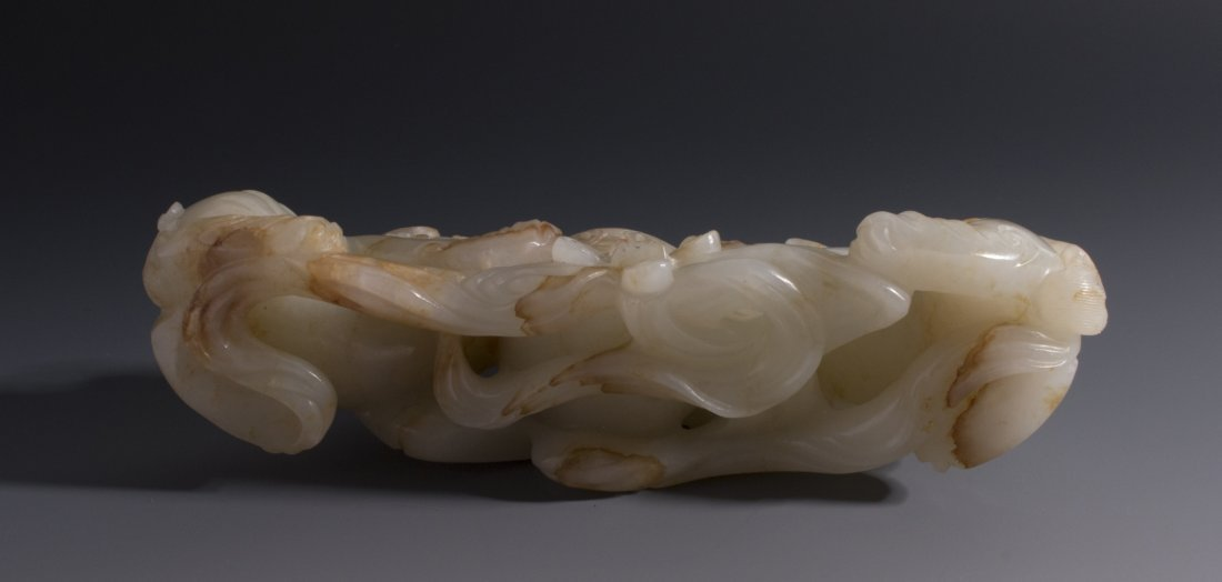 CHINESE CARVED WHITE JADE FOO LIONS - 5