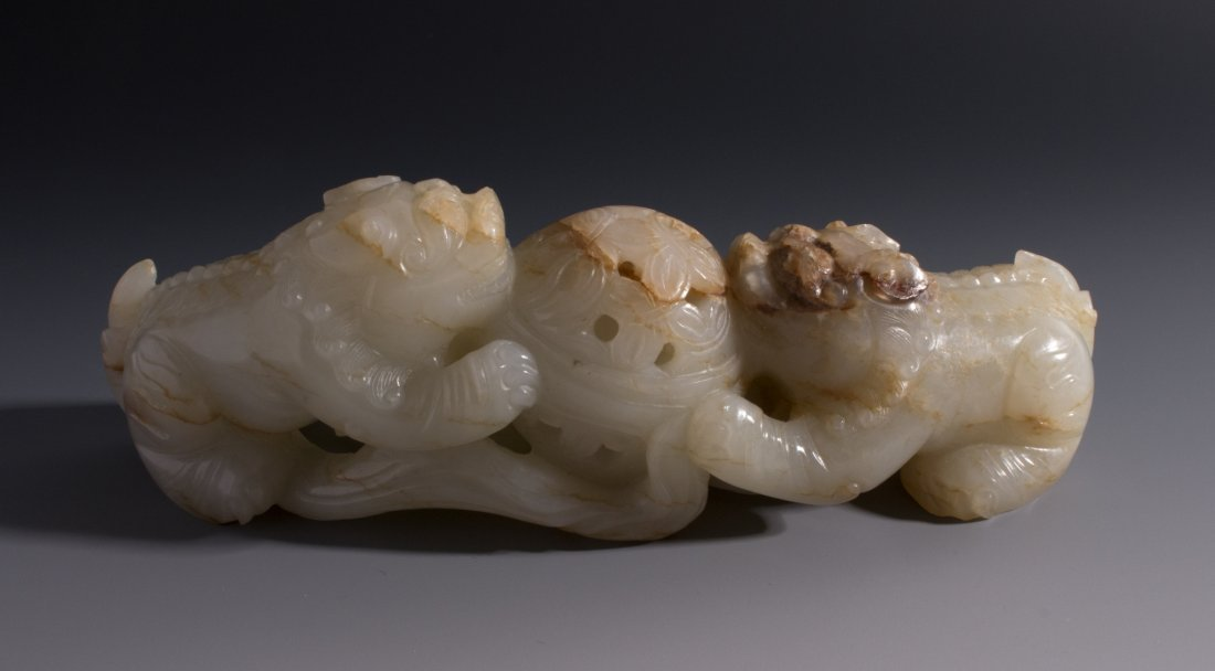 CHINESE CARVED WHITE JADE FOO LIONS - 6