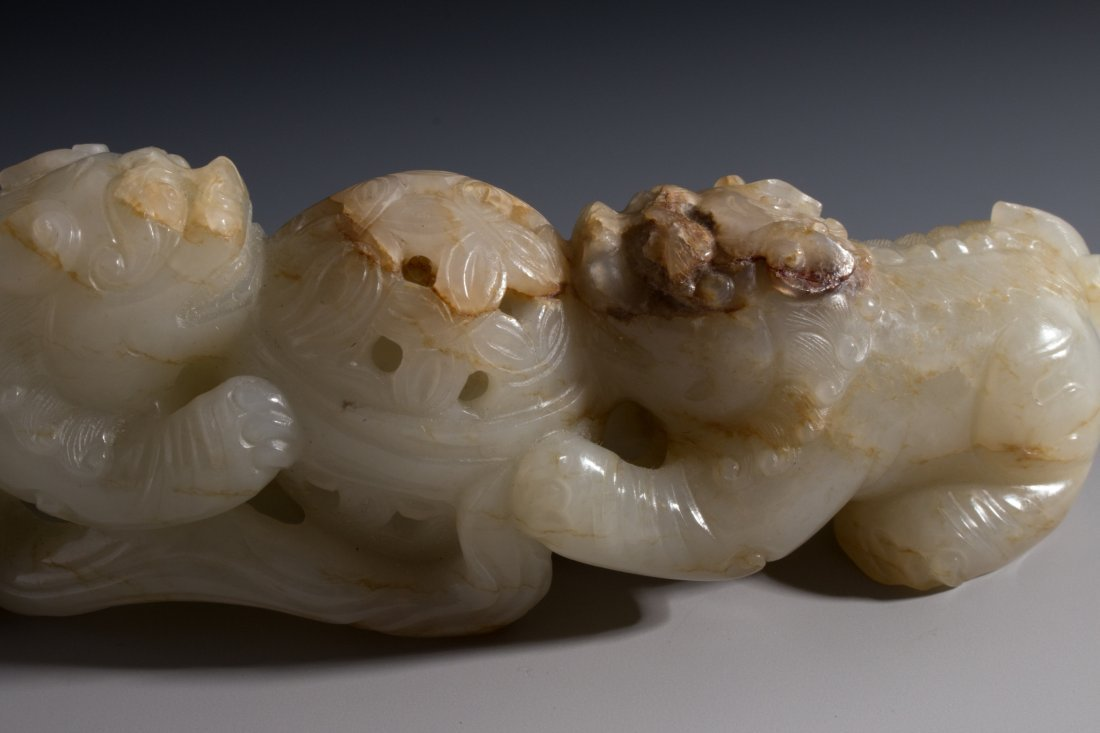 CHINESE CARVED WHITE JADE FOO LIONS - 7