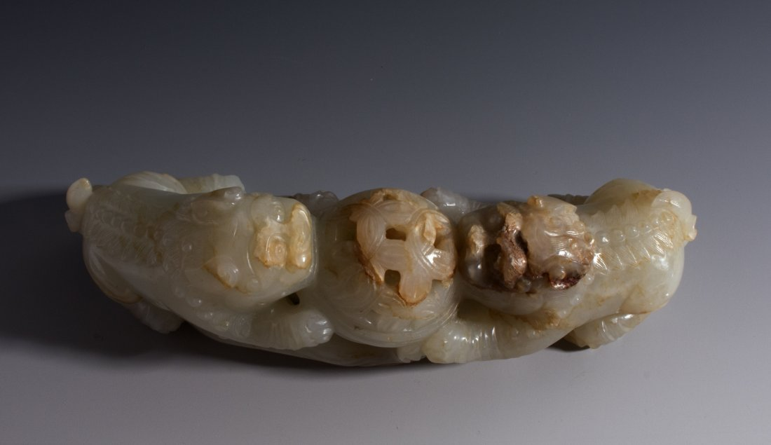 CHINESE CARVED WHITE JADE FOO LIONS - 8