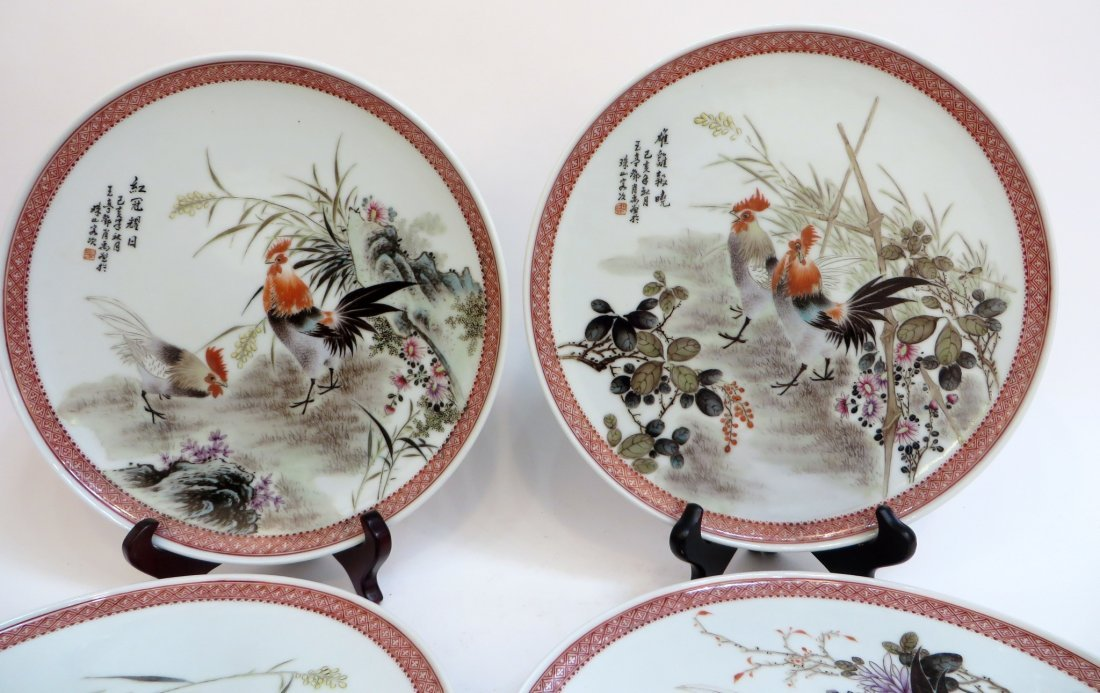 FOUR 20TH CENTURY CHINESE ROOSTER PLATES - 2