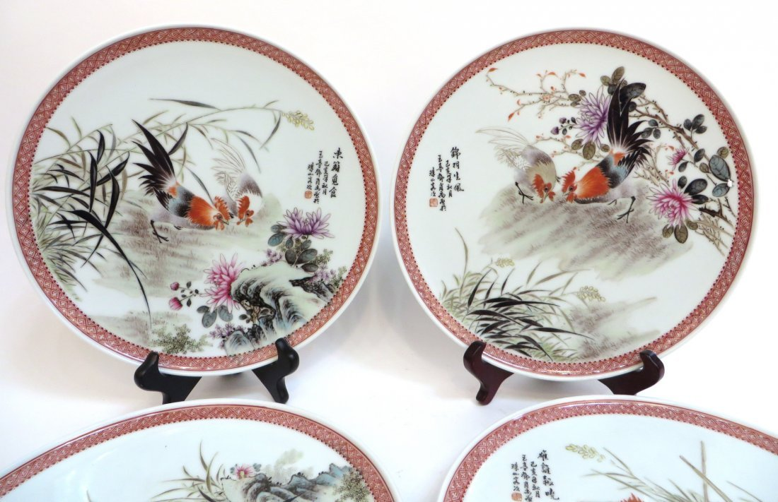 FOUR 20TH CENTURY CHINESE ROOSTER PLATES - 5