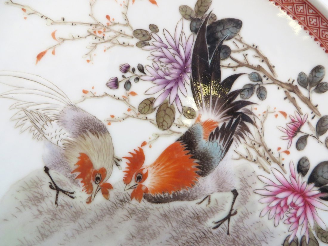FOUR 20TH CENTURY CHINESE ROOSTER PLATES - 6