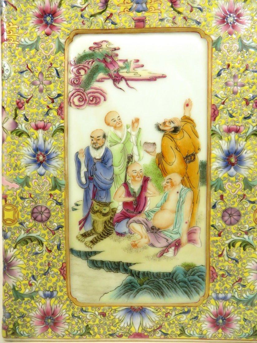 CHINESE QIAN LONG FAMILLE JAUNE BRUSH POT - 2