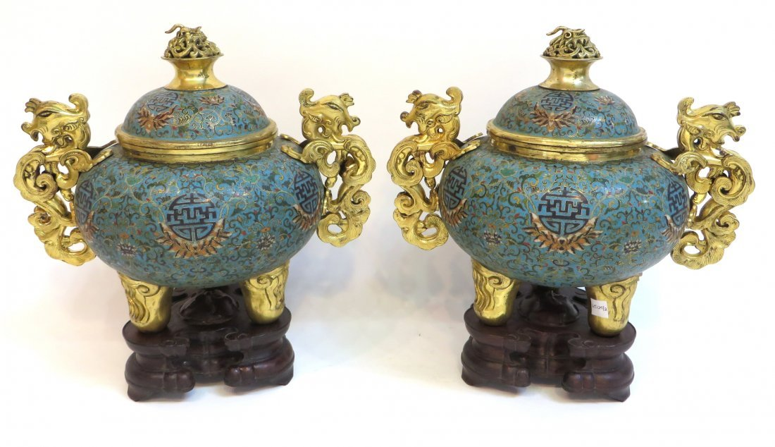 PAIR OF QIANLONG CLOISONNE CENSERS WITH STANDS