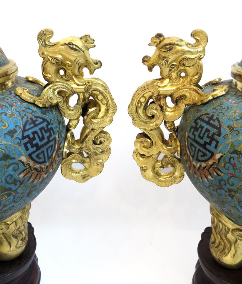PAIR OF QIANLONG CLOISONNE CENSERS WITH STANDS - 2