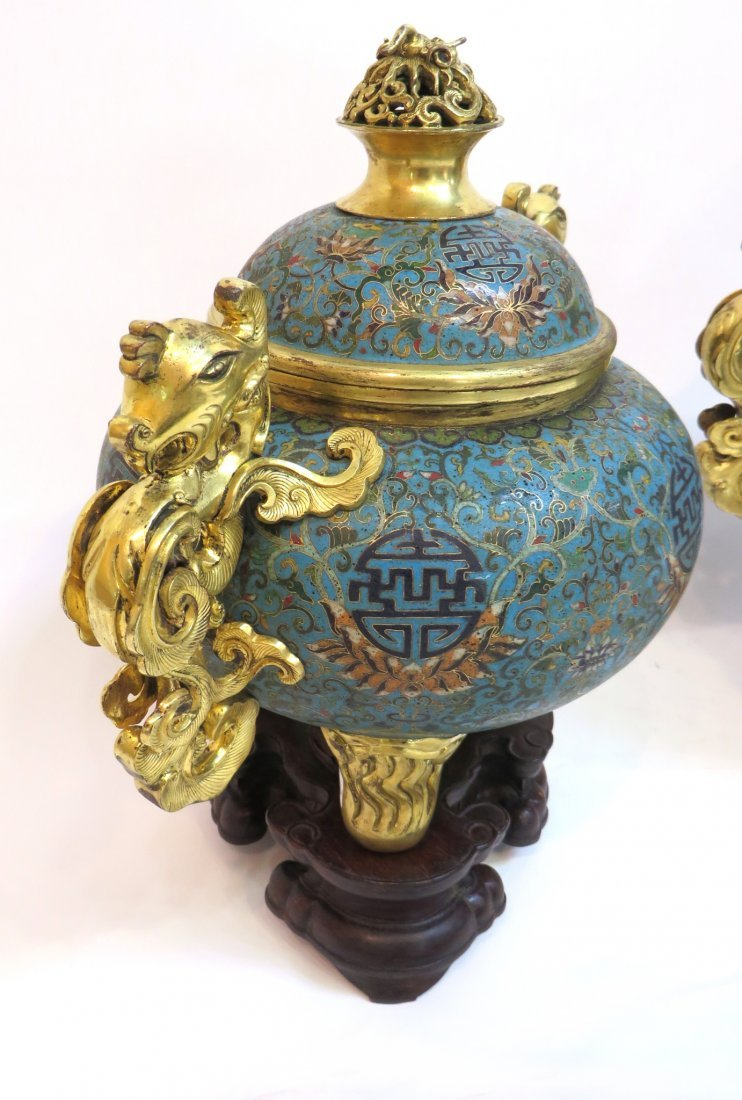 PAIR OF QIANLONG CLOISONNE CENSERS WITH STANDS - 3