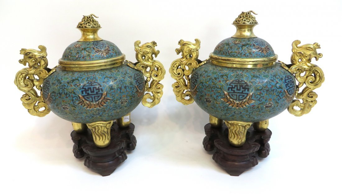 PAIR OF QIANLONG CLOISONNE CENSERS WITH STANDS - 4