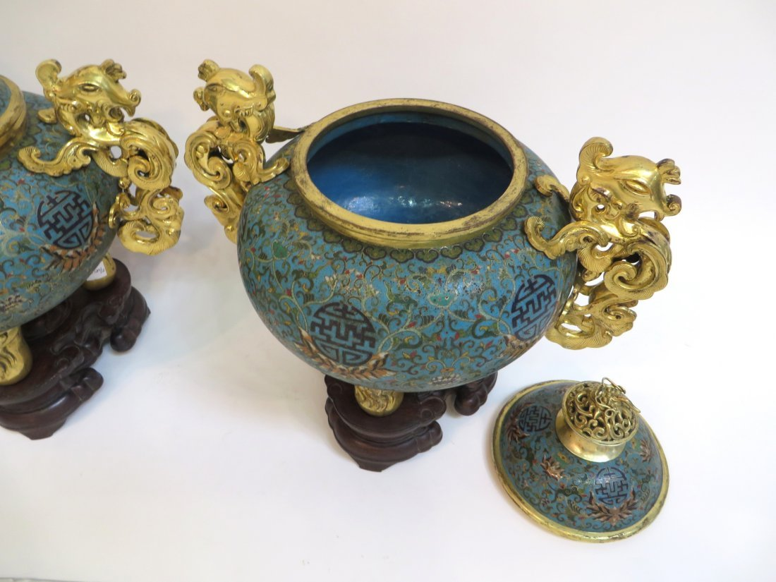 PAIR OF QIANLONG CLOISONNE CENSERS WITH STANDS - 5