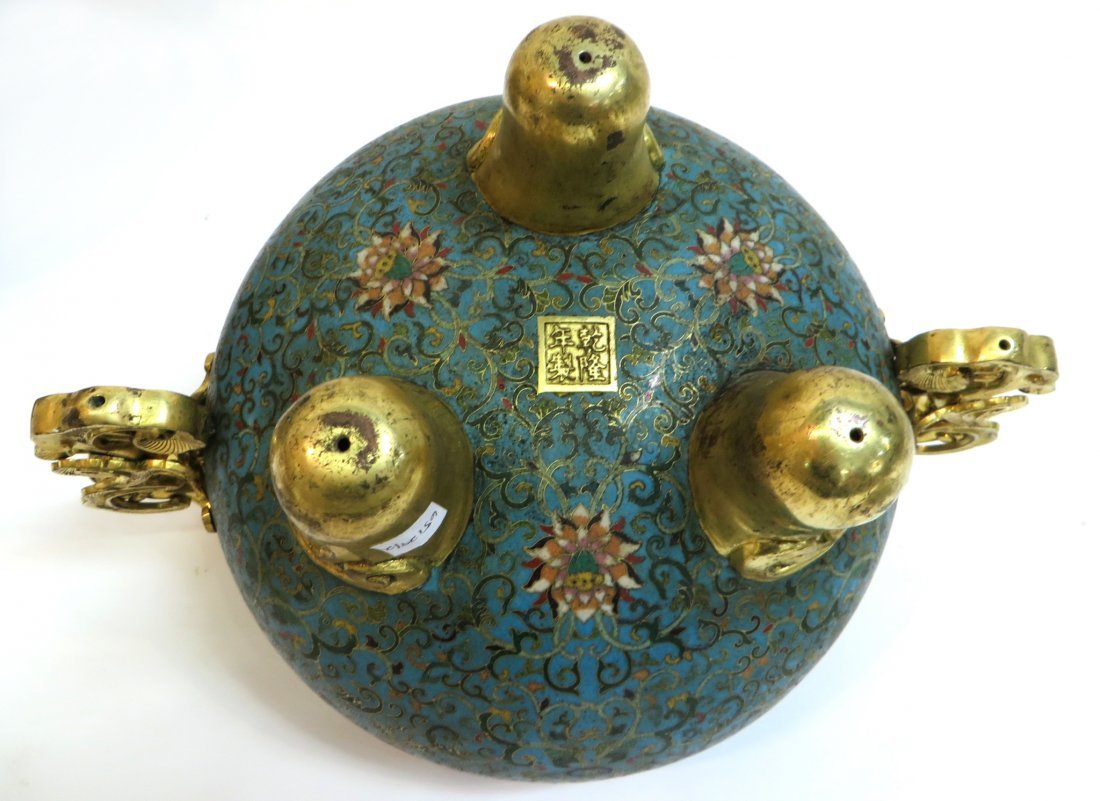 PAIR OF QIANLONG CLOISONNE CENSERS WITH STANDS - 6