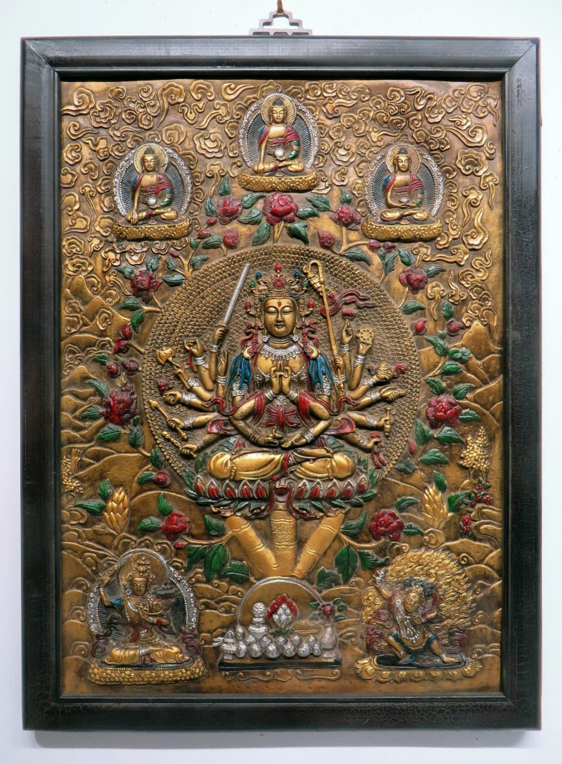 BRONZE REPOSSED TIBETAN THANKA