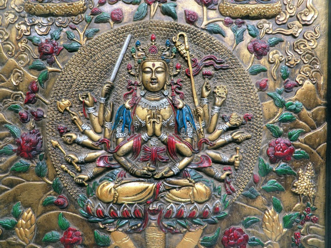 BRONZE REPOSSED TIBETAN THANKA - 2