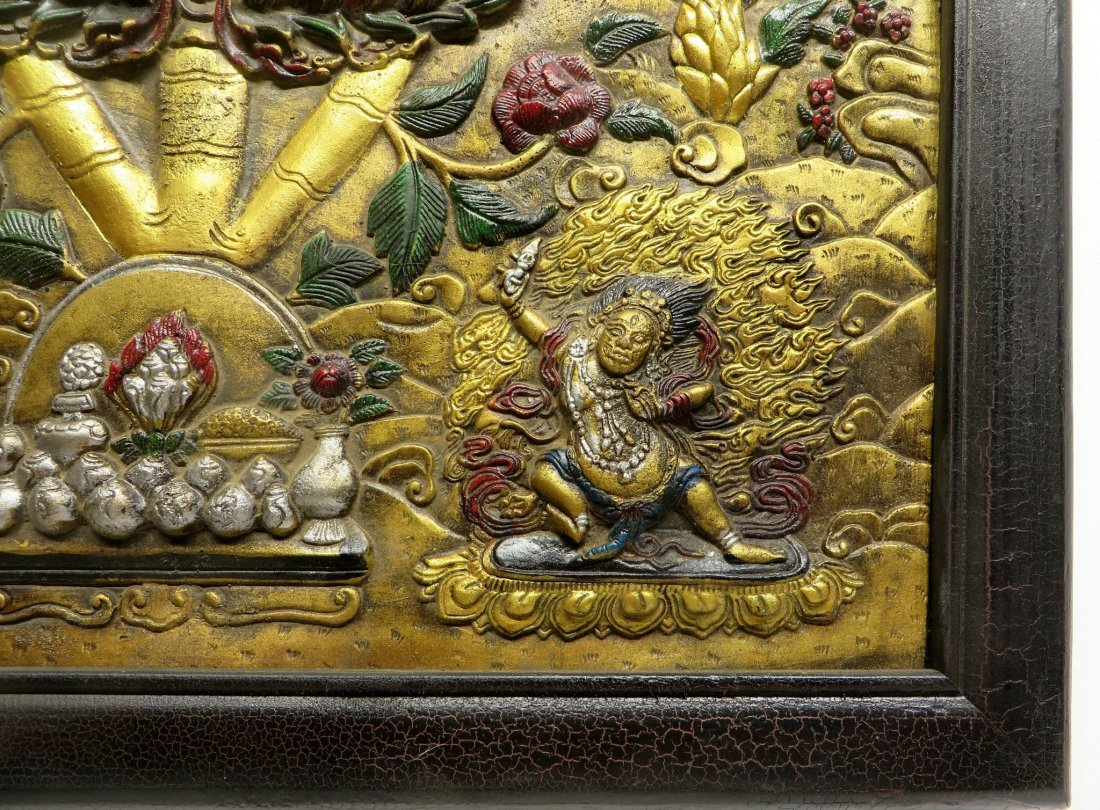 BRONZE REPOSSED TIBETAN THANKA - 3
