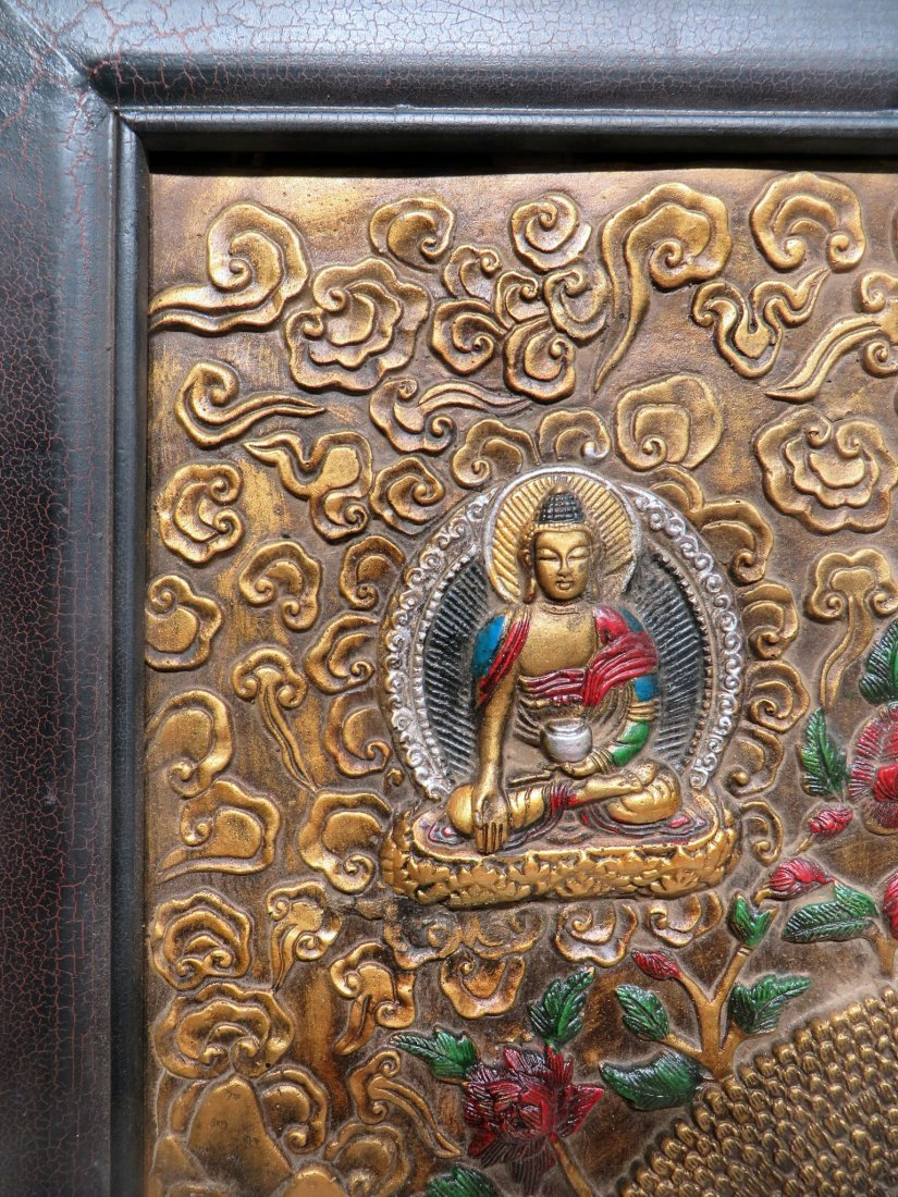 BRONZE REPOSSED TIBETAN THANKA - 4