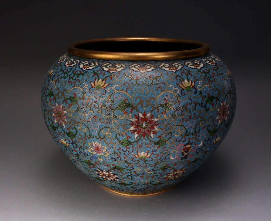 CHINESE CLOISONNE PLANTER WITH FLOWERS