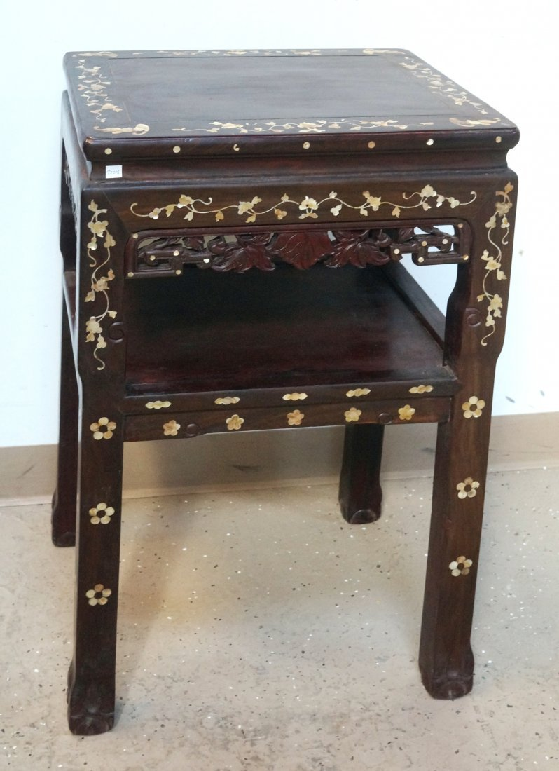 CHINESE ROSEWOOD & NACRE SIDE TABLE
