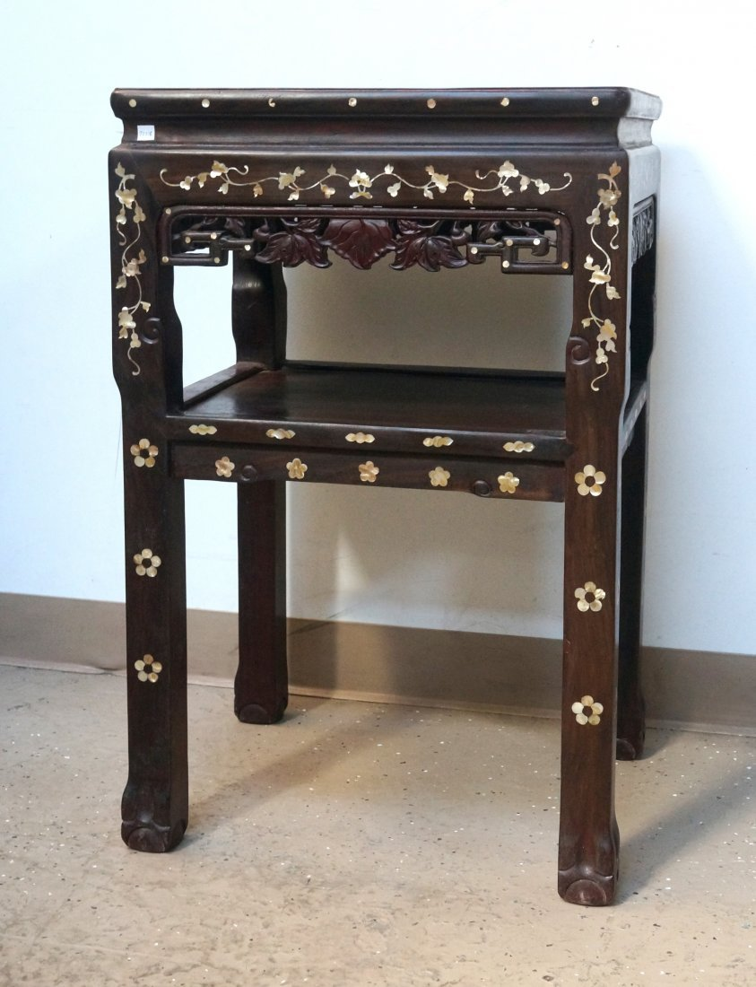 CHINESE ROSEWOOD & NACRE SIDE TABLE - 2