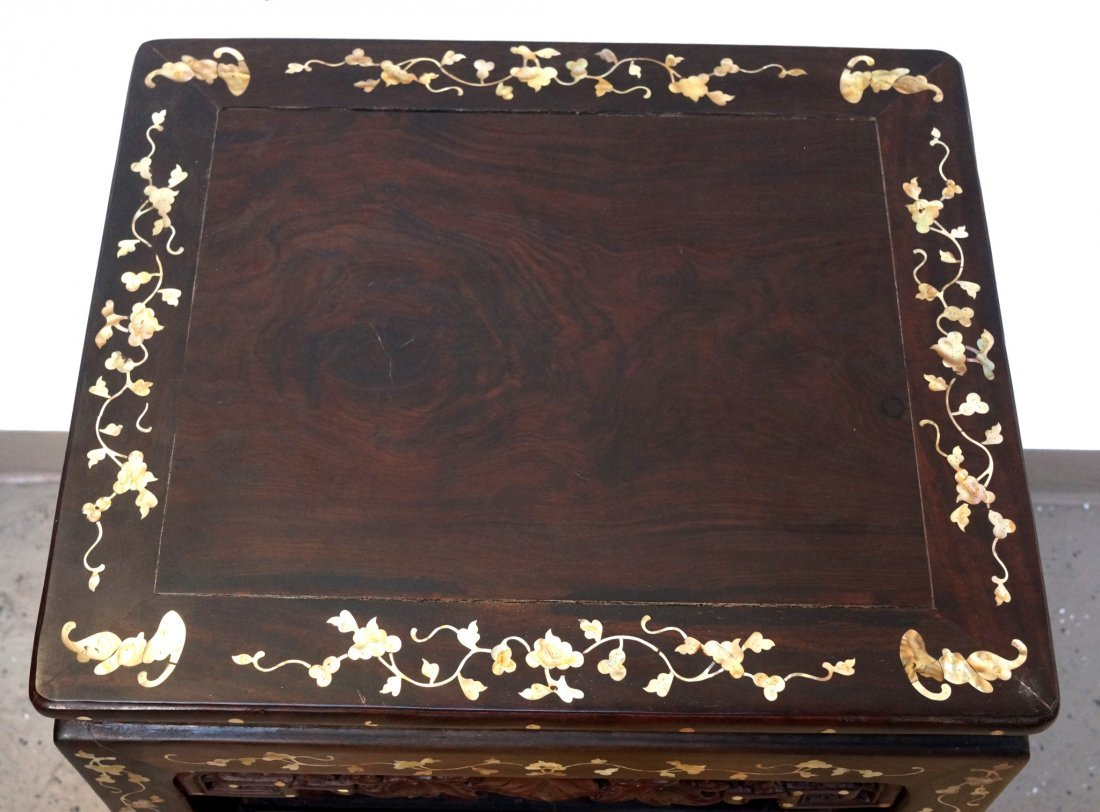 CHINESE ROSEWOOD & NACRE SIDE TABLE - 4