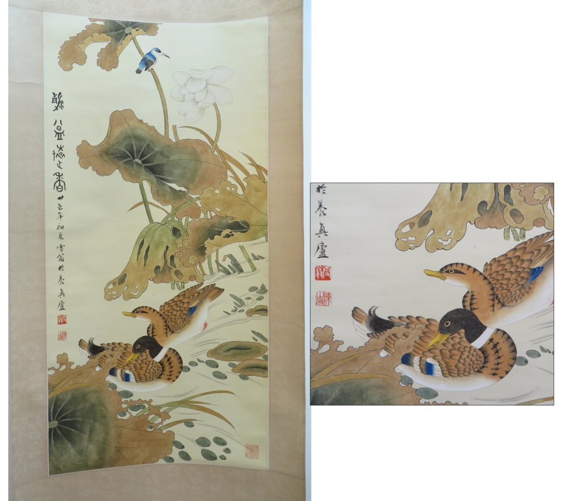 CHINESE SCROLL OF DUCKS AND WATER LILIES