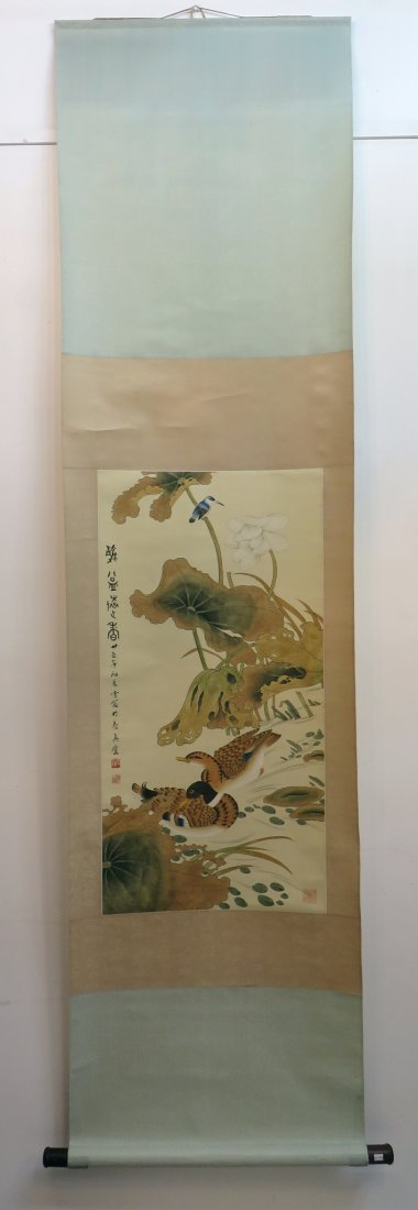 CHINESE SCROLL OF DUCKS AND WATER LILIES - 2