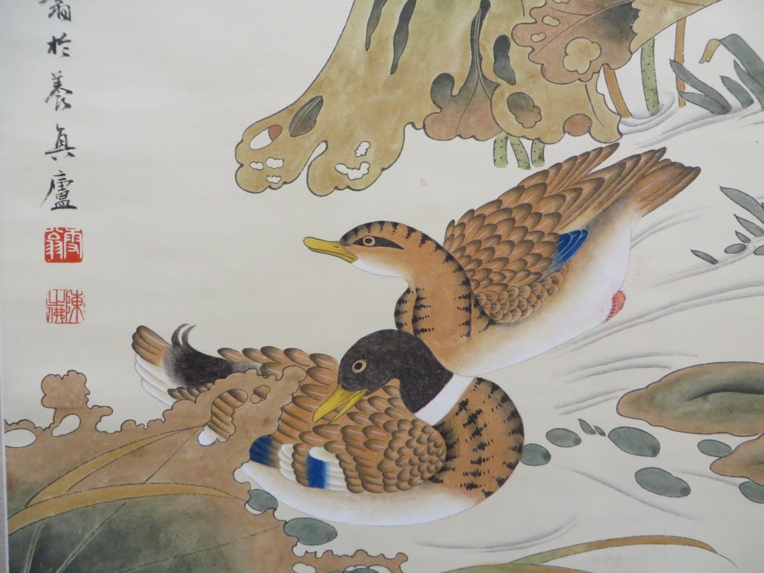 CHINESE SCROLL OF DUCKS AND WATER LILIES - 3
