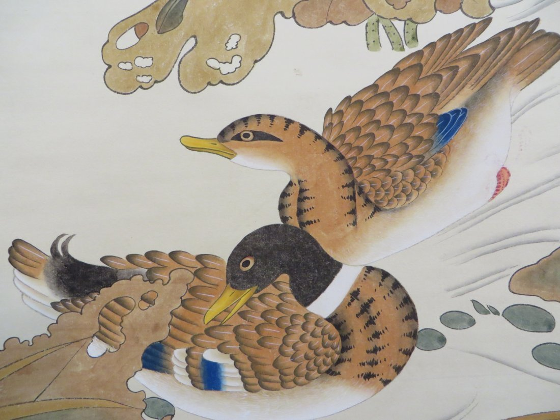 CHINESE SCROLL OF DUCKS AND WATER LILIES - 8