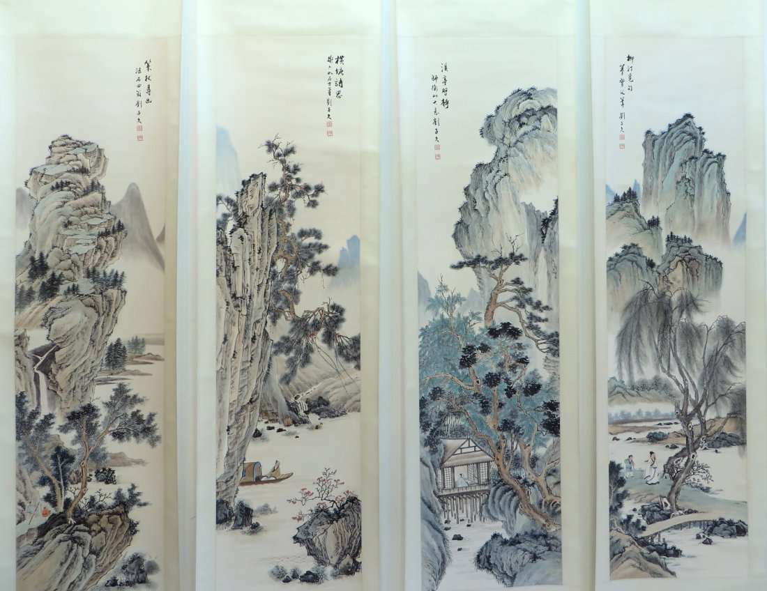 FOUR CHINESE MOUNTAINOUS LANDSCAPE SCROLLS